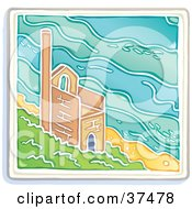 Clipart Illustration Of An Old Tin Mine On A Cliff Near The Sea