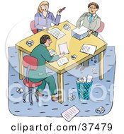 Clipart Illustration Of A Team Of Business Men And A Woman Working Together At A Table During A Meeting