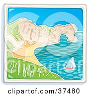 Clipart Illustration Of A Sailboat Near A Curving Coastline On A Sunny Day
