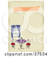 Clipart Illustration Of Steamy Coffee On A Cafe Table Near A Window On A Blank Restaurant Menu by Eugene #COLLC37534-0054