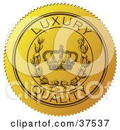 Clipart Illustration Of A Yellow Luxury Quality Sticker With A Crown And Laurel by Eugene #COLLC37537-0054