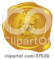 Clipart Illustration Of A Golden Shiny Luxury Quality Wax Seal by Eugene #COLLC37539-0054
