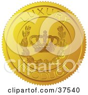 Clipart Illustration Of A Golden Shiny Luxury Product Sticker With A Crown And Laurel by Eugene