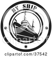 Clipart Illustration Of A Black And White By Ship Delivery Seal by Eugene #COLLC37542-0054