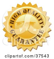 Clipart Illustration Of A High Quality Guarantee Stamp With A Map