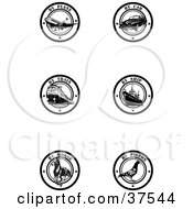 Clipart Illustration Of Six Black And White By Delivery Seals by Eugene