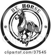 Clipart Illustration Of A Black And White By Horse Delivery Seal