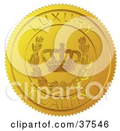 Golden Shiny Luxury Quality Sticker With A Crown And Laurel