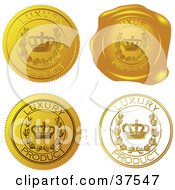 Clipart Illustration Of Four Gold Luxury Product Sticker And Wax Seals by Eugene