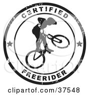 Clipart Illustration Of A Distressed Black And White Certified Freerider Seal by Eugene #COLLC37548-0054