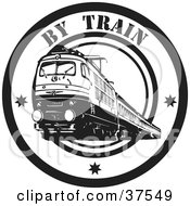 Clipart Illustration Of A Black And White By Train Delivery Seal by Eugene #COLLC37549-0054