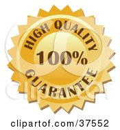 Clipart Illustration Of A Golden 100 Percent High Quality Guarantee Stamp by Eugene #COLLC37552-0054