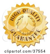 Clipart Illustration Of A Golden High Quality Stamp With A Star And Laurel