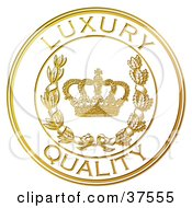 Clipart Illustration Of A Golden Embossed Luxury Quality Seal With A Crown And Laurel by Eugene #COLLC37555-0054
