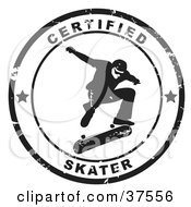 Clipart Illustration Of A Distressed Black And White Certified Skater Seal by Eugene #COLLC37556-0054