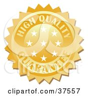 Clipart Illustration Of A Golden High Quality Guarantee Stamp With Stars