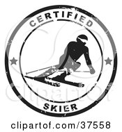 Clipart Illustration Of A Distressed Black And White Certified Skier Seal by Eugene #COLLC37558-0054