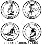 Clipart Illustration Of Four Black And White Distressed Sports Seals by Eugene