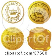 Clipart Illustration Of Four Gold Luxury Quality Sticker And Wax Seals by Eugene #COLLC37560-0054