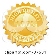 Clipart Illustration Of A Gold Quality Guarantee Stamp