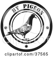 Clipart Illustration Of A Black And White By Pigeon Delivery Seal by Eugene #COLLC37565-0054