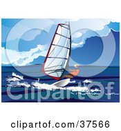 Clipart Illustration Of A Windsurfer Riding Waves Out At Sea by Eugene