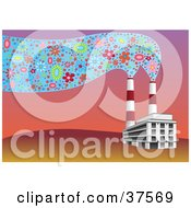 Clipart Illustration Of Factory Smoke Stacks Emitting Floral Smoke In The Air At Sunset