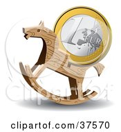 Clipart Illustration Of A Euro Coin On The Back Of A Wooden Rocking Horse by Eugene