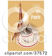 Clipart Illustration Of A Hot Cup Of Coffee With Steam Winding Up The Eiffel Tower On A Cafe De Paris Background by Eugene #COLLC37572-0054
