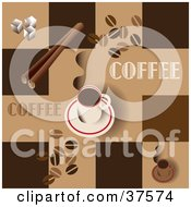 Clipart Illustration Of A Hot Cup Of Coffee On A Saucer On A Brown Background With Squares Coffee Beans Cinnamon Sticks And Sugar Cubes