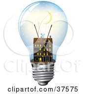 Clipart Illustration Of A Crescent Moon Above An Apartment Building Inside A Light Bulb by Eugene