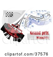 Clipart Illustration Of A Red Formula One Race Car With The Grand Prix Monaco F1 Map