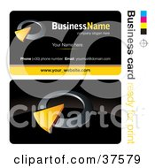 Clipart Illustration Of A Pre Made Yellow Dial Business Card Design With The Front And Back And A Black Background by beboy
