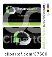 Clipart Illustration Of A Pre Made Green And Silver Arrow Business Card Design With The Front And Back And A Black Background