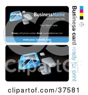 Clipart Illustration Of A Pre Made Blue Arrow Business Card Design With The Front And Back And A Black Background