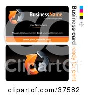 Clipart Illustration Of A Pre Made Orange Arrow Business Card Design With The Front And Back And A Black Background