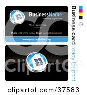 Clipart Illustration Of A Pre Made White And Blue House Button Business Card Design With The Front And Back And A Black Background