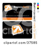 Clipart Illustration Of A Pre Made Orange Arrow Button Business Card Design With The Front And Back And A Black Background by beboy