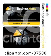 Clipart Illustration Of A Pre Made Yellow Triangular Dial Business Card Design With The Front And Back And A Black Background by beboy