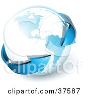 Clipart Illustration Of A Blue 3d Arrow Circling The Globe Pointing To South America