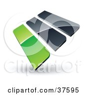 Clipart Illustration Of A Pre Made Logo Of Green And Gray Bars