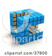Blue And Gold Cubic Diagramatic Structure On A Reflective White Surface