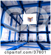 Orange And White Box Cube Floating In An Opening Of A Blue Cubic Diagramatic Structure