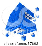 Clipart Illustration Of Spare Pieces Floating Around A Blue And White Cubic Diagramatic Structure by Tonis Pan