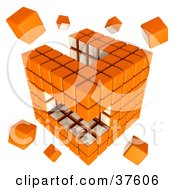 Loose Pieces Floating Around An Orange And White Cubic Diagramatic Structure