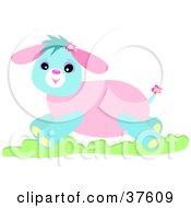 Clipart Illustration Of A Happy Pink And Blue Dog Running Through Grass by bpearth