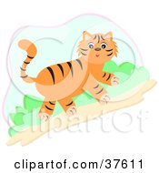 Clipart Illustration Of A Cute Tiger Walking Uphill by bpearth