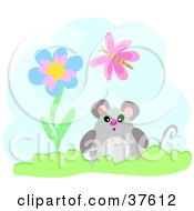 Clipart Illustration Of A Mouse With A Flower And Butterfly In Front Of A Cloud by bpearth
