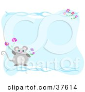Clipart Illustration Of A Mouse With Spring Flowers And Waves Over A Blue Space by bpearth