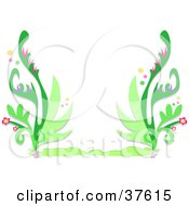 Stationery Border Of Lush Green Vines With Pink Flowers And Bubbles